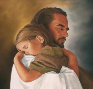 Jesus embracing child